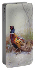 Pheasants In The Snow Portable Battery Charger by Archibald Thorburn
