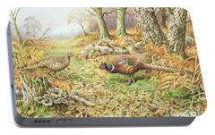 Pheasants With Blue Tits Portable Battery Charger by Carl Donner