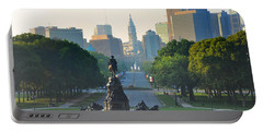 Philadelphia Benjamin Franklin Parkway Portable Battery Charger by Bill Cannon