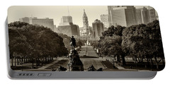 Philadelphia Benjamin Franklin Parkway In Sepia Portable Battery Charger by Bill Cannon