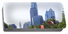 Philadelphia Skyline From The Parkway Portable Battery Charger by Bill Cannon