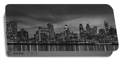 Philadelphia Skyline Panorama Bw Portable Battery Charger by Susan Candelario