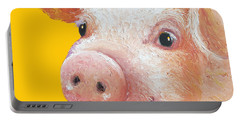 Pig Painting On Yellow Background Portable Battery Charger by Jan Matson