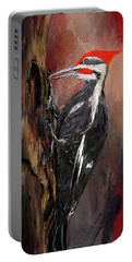 Pileated Woodpecker Art Portable Battery Charger by Lourry Legarde