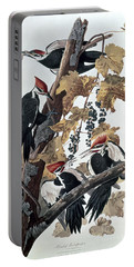 Pileated Woodpeckers Portable Battery Charger by John James Audubon