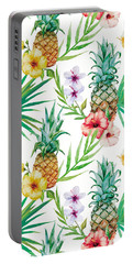 Pineapple And Tropical Flowers Portable Battery Charger by Vitor Costa