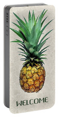 Pineapple Express On Mottled Parchment Welcome Portable Battery Charger by Elaine Plesser