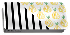 Pineapples And Stripes Portable Battery Charger by Linda Woods