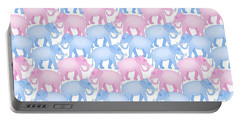 Pink And Blue Elephant Pattern Portable Battery Charger by Antique Images