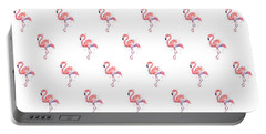 Pink Flamingo Watercolor Pattern Portable Battery Charger by Olga Shvartsur
