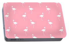 Pink Flamingos Pattern Portable Battery Charger by Christina Rollo