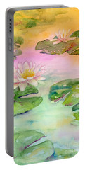 Pink Pond Portable Battery Charger by Amy Kirkpatrick