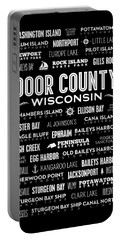 Places Of Door County On Black Portable Battery Charger by Christopher Arndt