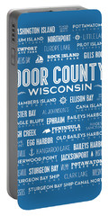 Places Of Door County On Blue Portable Battery Charger by Christopher Arndt