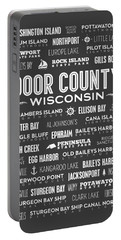 Places Of Door County On Gray Portable Battery Charger by Christopher Arndt