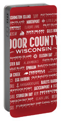 Places Of Door County On Red Portable Battery Charger by Christopher Arndt