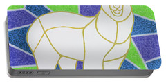 Polar Bear On Stained Glass Portable Battery Charger by Pat Scott