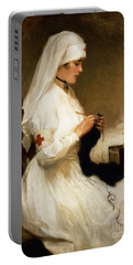 Portrait Of A Nurse From The Red Cross Portable Battery Charger by Gabriel Emile Niscolet
