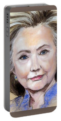 Pastel Portrait Of Hillary Clinton Portable Battery Charger by Greta Corens