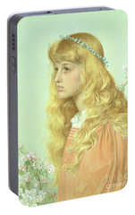 Portrait Of Miss Adele Donaldson, 1897 Portable Battery Charger by Anthony Frederick Augustus Sandys
