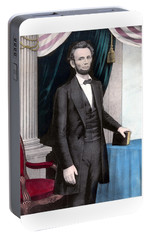 President Abraham Lincoln In Color Portable Battery Charger by War Is Hell Store