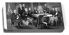 President Lincoln His Cabinet And General Scott Portable Battery Charger by War Is Hell Store