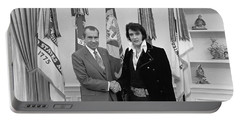 President Richard Nixon Meeting Elvis Portable Battery Charger by War Is Hell Store