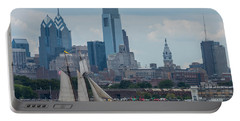 Pride Of Baltimore II Philadelphia Skyline Portable Battery Charger by Terry DeLuco