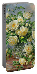 Princess Diana Roses In A Cut Glass Vase Portable Battery Charger by Albert Williams