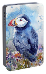 Puffin With Flowers Portable Battery Charger by Kovacs Anna Brigitta