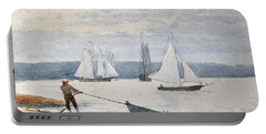 Pulling The Dory Portable Battery Charger by Winslow Homer