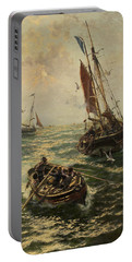 Putting The Catch Ashore Portable Battery Charger by Thomas Rose Miles