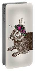 Rabbit And Roses Portable Battery Charger by Eclectic at HeART