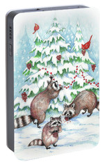 Raccoon Christmas Portable Battery Charger by Peggy Wilson