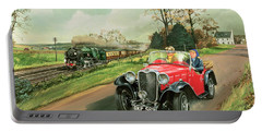 Racing The Train Portable Battery Charger by Richard Wheatland