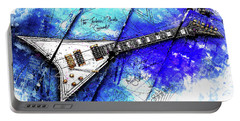 Randy's Guitar On Blue II Portable Battery Charger by Gary Bodnar
