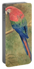 Red And Blue Macaw Portable Battery Charger by Henry Stacey Marks