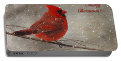 Red Bird In Snow Christmas Card Portable Battery Charger by Lois Bryan