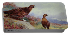 Red Grouse On The Moor, 1917 Portable Battery Charger by Archibald Thorburn