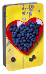 Red Heart Plate With Blueberries Portable Battery Charger by Garry Gay