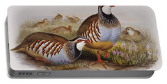 Red-legged Partridges Portable Battery Charger by John Gould