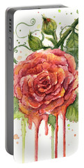 Red Rose Dripping Watercolor  Portable Battery Charger by Olga Shvartsur