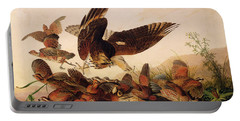 Red Shouldered Hawk Attacking Bobwhite Partridge Portable Battery Charger by John James Audubon