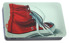 Red Sneakers Portable Battery Charger by Nolan Clark