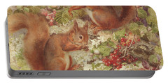 Red Squirrels Gathering Fruits And Nuts Portable Battery Charger by Rosa Jameson
