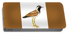 Red - Wattled Lapwing Portable Battery Charger by Ketki Fadnis