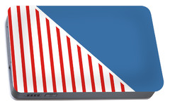 Red White And Blue Triangles Portable Battery Charger by Linda Woods