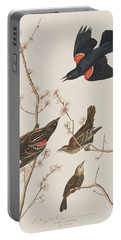 Red Winged Starling Or Marsh Blackbird Portable Battery Charger by John James Audubon