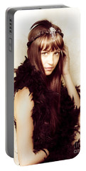 Retro Showgirl In Feather Boa Portable Battery Charger by Jorgo Photography - Wall Art Gallery