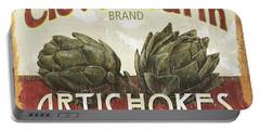 Retro Veggie Labels 1 Portable Battery Charger by Debbie DeWitt